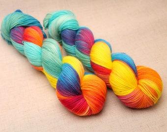 hand dyed yarn 'Paradise Sunset' Aran