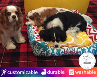 Colorful Dog Bed | Yellow, Turquoise, Red, Damask, Chevron | Washable and High Quality