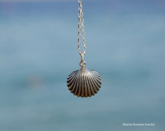 Sea Shell Pendant, Seashell Necklace in Sterling Silver, Handmade, Oxidized