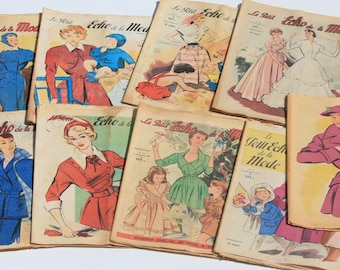 9  Magazines Le Petit Echo De la Mode French Fashion and Lifestyle  Magazines Selection of 9 ,1950, Art Deco