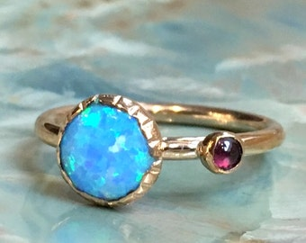 Mothers Birthstone Ring, Opal Ring, Birthstone Ring For Mom, Mothers Jewelry, Family Ring, Gift For Mom, gold - So happy together R2456
