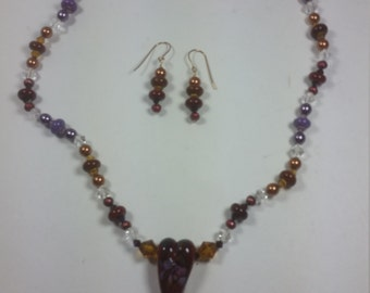 Lampwork Red Heart focal bead necklace and earrings set