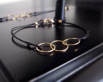 Friendship Bracelet - Modern Bracelet - Simple Bracelet - Linked In Golden Trio - Black - w/clasp #1-031