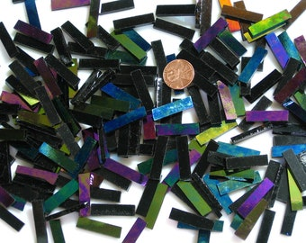 Black Opal Iridescent Mosaic Tile Squares