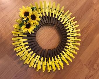 "16"" Sunflower Clothespin Wreath"