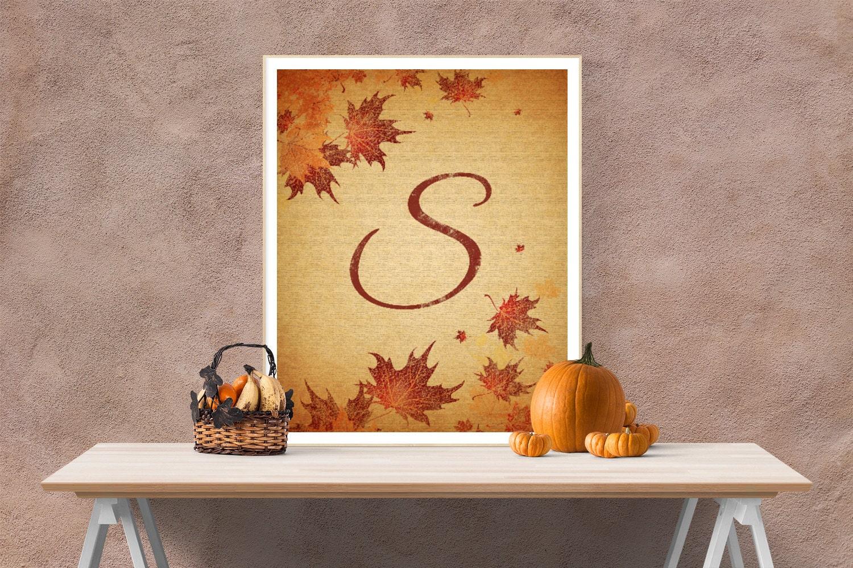 Fall Letter S / Initial Art / Autumn Leaves Art / Initial S /