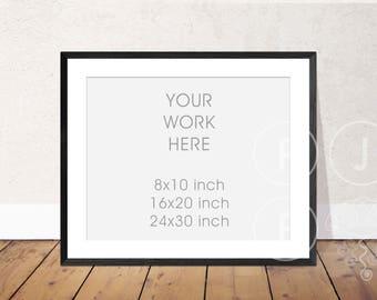 frame mockup 8x10,16x20, 24x30 landscape frame floorboards thin black frame mockup