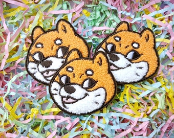 Blep Doggo - Iron-on Embroidered Patch by Cloudhedd - Fuzzy Chenille Fur Texture! - Cute Shiba Inu Meme dog head with tongue sticking out