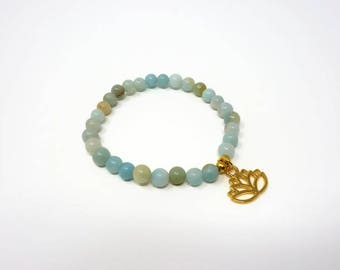 Amazonite Mala Bracelet - Blue Gemstone Wrist Mala - Relaxation Gift - Healing Bracelet - Meditation Gift - Stacking Bracelet - Lotus Charm