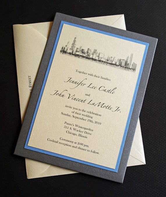 Personalized Skyline Wedding Invitations: Chicago Skyline Wedding Invitation Pocket Wedding