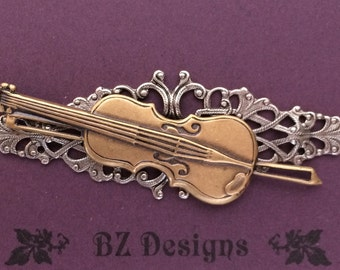Violin Brooch - Antique Gold, Antique Silver or Antique Copper; A Studio BZ Original