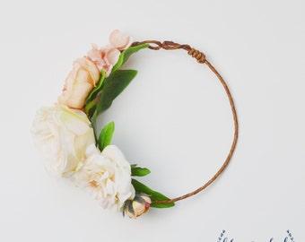 Flower Girl Crown, Silk Flower Crown, Flower Crown, Peach, Wedding, Wedding Crown, Boho, Beach Wedding, Flower Girl Accessories, Pink, Cream