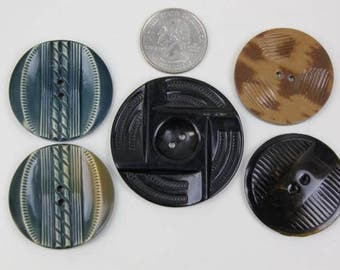 Vintage Buttons Oversize Teal Black Brown Carved Color Buttons Large Plastic Celluloid Buttons Five Buttons #89