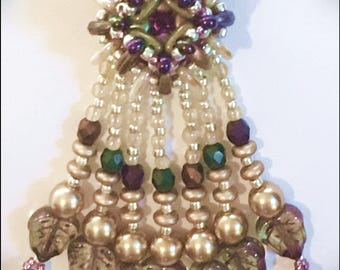 Mayan Ziggurat Pendant - Seed beaded pendant with crystals and CzechMates multihole beads by Hannah Rosner