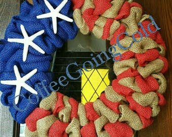 American Flag, Burlap Flag, Burlap American Flag, Starfish American Flag, Nautical American Flag, Fourth of July Wreath, 4th of July Wreath
