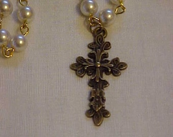 GLASS PEARL Chain w/Ornate, Antique Brass-Tone Cross~~White Glass Pearl Chain~~Very ORNATE Cross Pendant~Comes w/Hand Knit, Little Purse