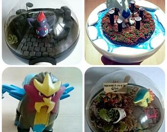 Entei POKÉMON TERRARIUM - Custom Pokemon Gift / Pokeball Diorama / Fairy Garden / Pokemon Miniature