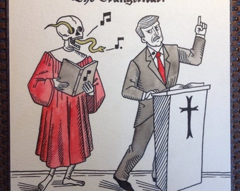 The Evangelical, original art from Danse Macabre 2.0 by Dylan Meconis