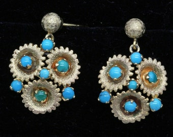Vintage Earrings Retro 14k Gold Turquoise circa 1940 - 1960 (#6139)