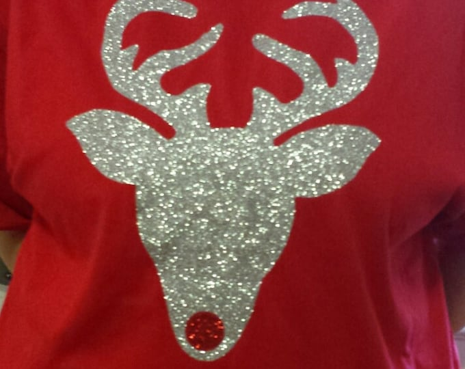 GLITTER CHRISTMAS REINDEER Long-sleeve shirt Or Sweatshirt with unlimited color combinations, Rudolph the Red Nose, multiple shirt styles.ch