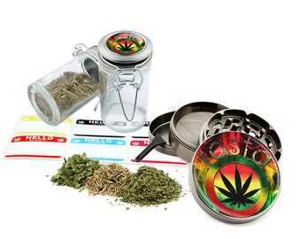 "Rasta Leaf - 2.5"" Zinc Alloy Grinder & 75ml Locking Top Glass Jar Combo Gift Set Item # G022115-045"