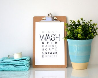WASH > laundry decor / wash room print / brush lettering & typography print / monochrome home decor