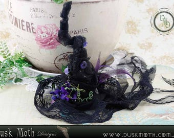 Clip in black and purple witch hat - faerie, fairy, goth, witch, pixie, elf, goblin, fantasy, cosplay, halloween