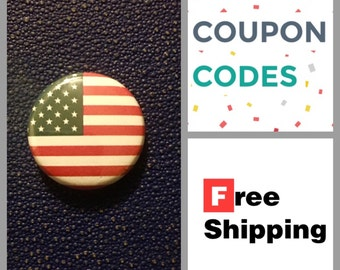 American Flag Button Pin, FREE SHIPPING & Coupon Codes