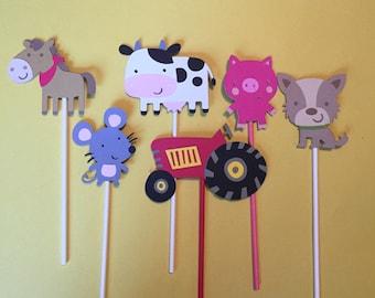 Set Of 12 FARM THEME Cupcake toppers