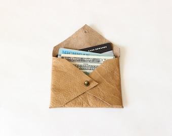 Le titulaire de carte de crédit en cuir brun de miel / Mini en cuir