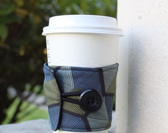 Reusable Coffee Cup Cozy - Parson Gray Vagabond - Manly Coffee Wrap - Masculine Male-Friendly Gender Neutral Coffee Sleeve -Dark Earth Tone