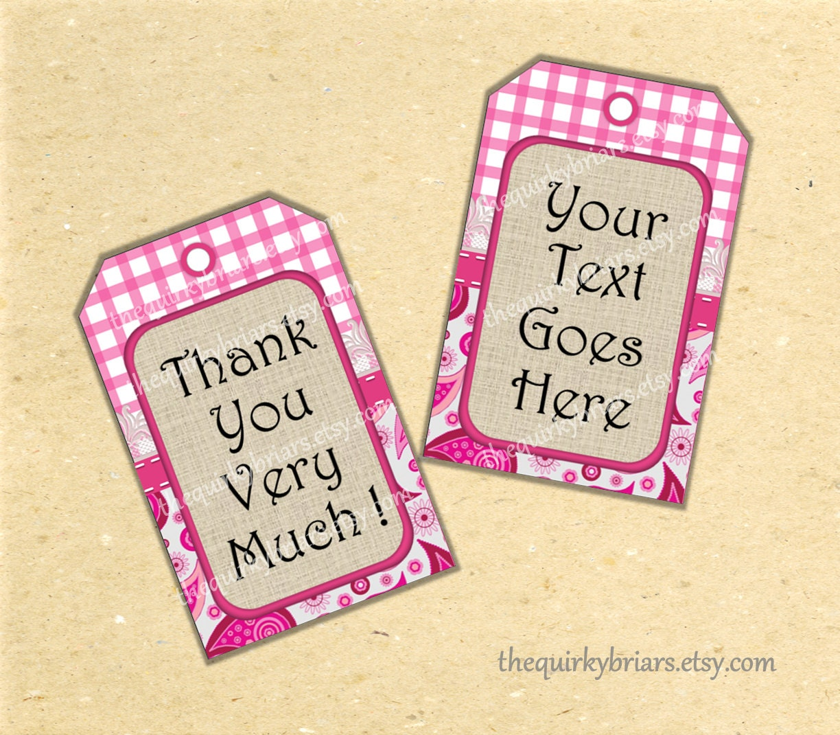Pink Cowgirl Party Thank You Tags / Country Rustic / Wedding