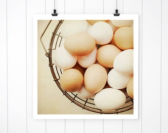 Kitchen Wall Decor eggs in basket print, country living photography, kitchen art, modern farmhouse wall decor, Modern Farmhouse Art
