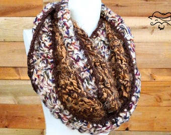 Soft Knit scarf, knit cowl, knit infinity scarf, handmade scarf, chrochet scarf, womens scarf, Winter scarf tan and brown scarf gift for Mom
