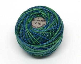 Valdani Pearl Cotton Thread Size 8 Variegated: #V15 Algae