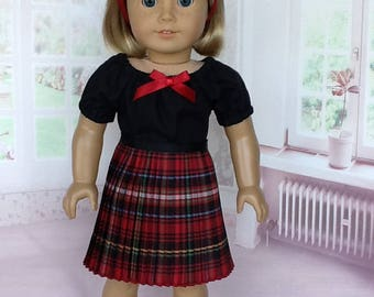 Doll clothes for American Girl dolls and other 18 inch dolls. Peasant blouse and pleated skirt.