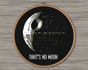 """Death Star and Star Wars Quote - """"That's No Moon"""" - PDF Cross Stitch Pattern"""