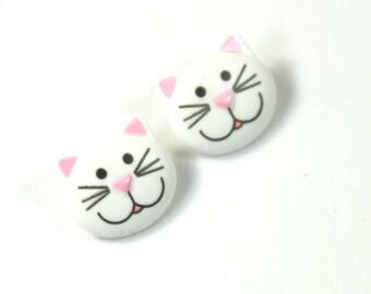 Cat earrings, Cat studs, Pink cat earrings