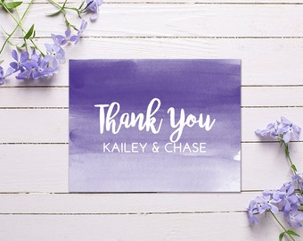Thank You Greeting Card - Watercolor Wedding Thank You Note - Indigo Wedding Ceremony Thank You Card - Thank You Stationery - Thank You Gift