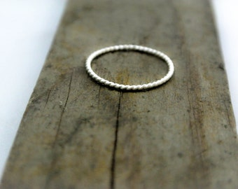 Stacking Ring Sterling Silver Twist Rope Ring Skinny Stacking Super Skinny Stack Ring 925