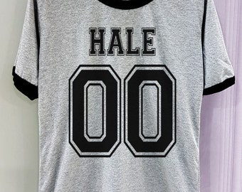 Hale 00 Shirt Teenwolf Teen wolf Short Sleeve Two Tone White Grey Gray Tee Clothing