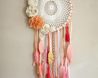 boho dreamcatcher, wall hanging , wool feathers,vinatge doily, tassels, ribbons,lace,fabric flowers, custom ,made to order