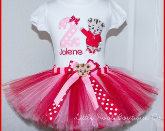 Super Cute Pink and Red Daniel the Tiger Birthday tutu outfit Personalized with name
