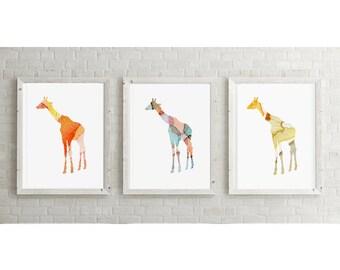 Set of 3 Giraffe Watercolor illustration - Giclee Prints - Yellow Orange aqua - Home Decor  - Nursery Art Animal Painting Giraffe Art
