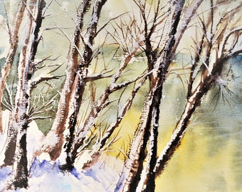Snowy Trees/Original Watercolor Painting/ Handpainting Watercolour/ Landscape Artwork/Winter Landscape Art/ Wall Art/ Home Decor/ Nature Art