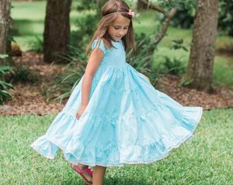 Aqua Polka Dot Dress - Blue Polka Dot Dress - White Polka Dot Dress - Girls Polka Dot Dress - Girls Peasant Dress - Girls Blue Peasant Dress