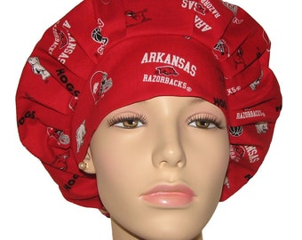 Scrub Hats for Women-University Of Arkansas Tossed Fabric-ScrubHeads-Bouffant Scrub Hat-Razerbacks Scrub Hat-Arkansas Scrub Hat-Scrub Caps
