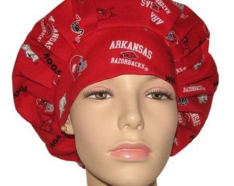 Scrub Hats for Women-University Of Arkansas Tossed Fabric-ScrubHeads-Bouffant Scrub Hat-Razerbacks Scrub Hat-Arkansas Scrub Hat-Scrub Caps