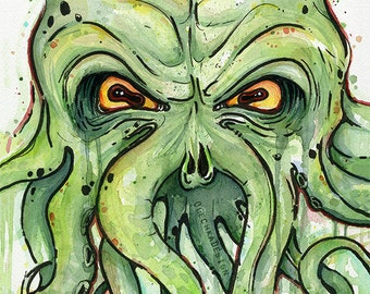 Cthulhu Painting, Watercolor Art Print, HP Lovecraft Giclee Portrait Painting, Scary Geek Decor