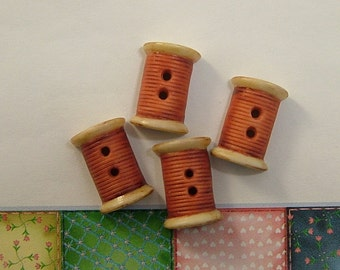 Red Thread Spool Button set of 4